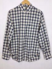 J Crew Men's Blue White Plaid Button Down 2 Ply Cotton Shirt Size Small