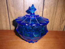 Beautiful Blue Fenton Art Glass Valencia Covered Candy Box Dish