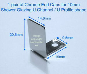 End Caps 10mm Shower Glazing U Channel in Chrome, Matt Black, Brushed Nickel
