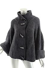 CAMERON TAYLOR Charcoal 100% Cashmere Ribbed Cardigan Sweater w/Horn Buttons - M