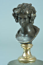 19th century  Superb & rare Solid Bronze Wax Seal Bust of Antinous as Dionysus