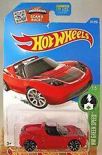 2016 Hot Wheels #241 HW Green Speed 1/5 TESLA ROADSTER Red w/Chrome Trap 5 Spoke