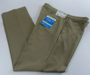 Haggar Men Cool 18 Pro Pants 38x34 Straight Fit Comfort 4-Way Stretch Tan