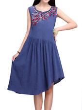 Regular Size Linen Dresses for Women with Ruffle