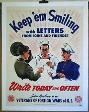 "WW II V F W LADIES AUX- USMC - USN - USA KEEP 'EM SMILING""  linen mounted poster"