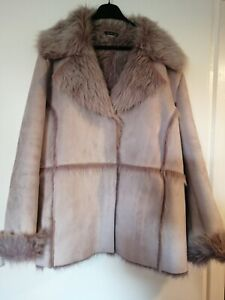 Essence For Evans Faux Fur Suede Lilac Coat Jacket Plus Size 26-28 Nwots