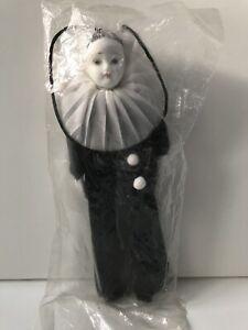"Pierrot Doll Vintage Porcelain Clown 7.5"" NEVER OPENED STILL SEALED!"