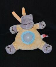 Peluche doudou hippopotame lumière INFLUX CORA veilleuse gris jaune 22 cm TTBE