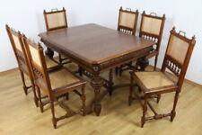 Essgarnitur Gründerzeit Tisch Stühle Eiche massiv Antiquitäten Möbel Esszimmer