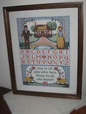"Joy to All Counted Cross Stitch Alphabet Sampler w Hearts 19.5""x15.5"" Oak Frame"