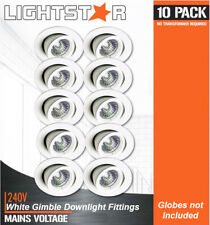 10 x White Gimbal Downlight Fittings 240V GU10 Gimble Frames Adjustable Max 11W