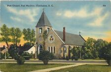 Charlestown SC~Triune Window on Post Chapel~Fort Moultrie~1940s Postcard