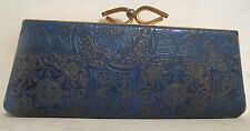 Vintage Eyeglasses Spectacles Case Blue and Gold Pattern Clutch Purse Style
