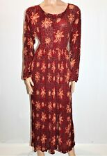 STAR GAZE Brand Red Floral Long Sleeve Gypsy Maxi Dress Size L BNWT #TK94
