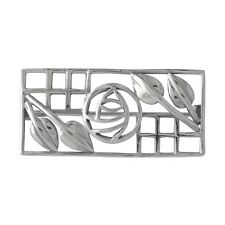 Wholesale / Gift Sterling 925 Silver Celtic MacKintosh Rose & Leaves Bar Pin