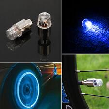 2Pcs LED Blue Lights Tire Wheels Valve Stem Caps Motorcycle Bike Car Bicycle