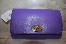 Brand New Genuine Coach Purple Crossgrain Leather Crossbody shoulder bag
