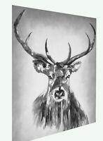 stag deer moose Painting Graffiti Street Art white  black Print Poster Australia