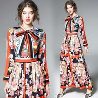 Spring Womens Temperament Printed Floral Contrast Color Pleated Dress Size S-2XL