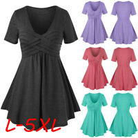 Women V-Neck Plus Size Blouse Solid Short Sleeve Crisscross Tee T Shirt Tops Cen