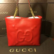 GUCCI Red Leather GG Embossed Shoulder Bag NEW