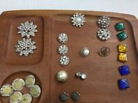 Vintage Mixed 27 Buttons Lot Metal Rhinestones and Plastic,