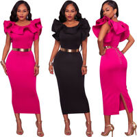 Womens Dress Bodycon Party Cocktail Midi Skirt Casual Ruffle Sleeve Clothing