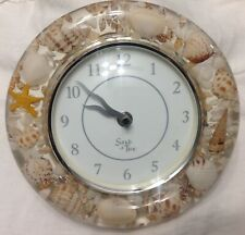 VINTAGE RETRO Kitchen Wall Clock CLEAR ACRYLIC W/ real SEASHELLS  Battery/WORKS