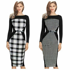 Polyester Special Occasion Check Dresses Midi