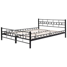 Black Queen Size Wood Slats Bed Frame Platform Headboard Footboard Furniture NEW