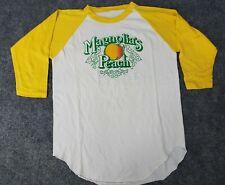Vintage 80s Mens Small Magnolias Peach Single Stitch Raglan Shirt Mid Sleeve Tee