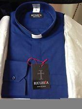Camicia per Sacerdote Clergy 100 % Cotone BLU-  Made in Italy  nuova
