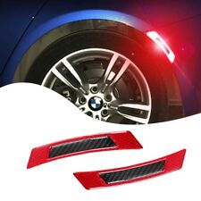 Red Carbon Fiber Anti-Collision Protector Reflective Sticker Fit Wheel Eyebrow