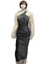 Vera Wang Women Slit Dress Cocktail Silk Gray Fashion Long One Shoulder Size 4