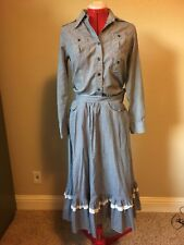 Vintage Byer California Blue White Checkered Country Western Skirt & Shirt