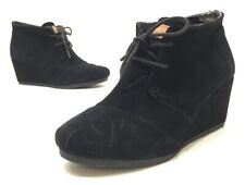 Toms Desert Womens Black Suede Lace Up Wedge Boots Size 8