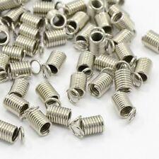 LOT de 50 EMBOUTS RESSORTS cordon cuir fil 8 x 4mm ARGENTE perles création bijou