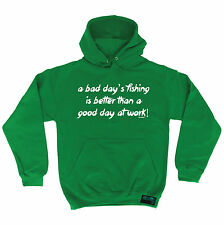 Bad Day Fishing Better Than Work Drowning Worms HOODIE hoody birthday fish gift