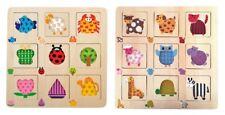 """2 puzzle a incastro in legno """"Ordinare gli elementi"""" figure animali forme colori"""