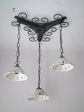 Lampadario in ferro battuto e coppette in terracotta bianca 3L pendenti E14