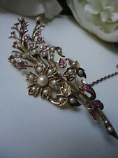 """Exceptional Antique 9ct Huge 3.4"""" 9cm Gold Ruby Pearl Floral Spray Brooch +Box"""