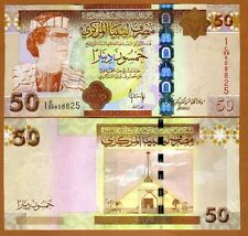 Libya, 50 Dinar, ND (2008), P-75, UNC > Gaddafi, Highest Denomination