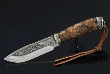 AWESOME CUSTOM HANDMADE KNIFE *HUNTING SEASON*  PLATED PATTERN + LEATHER SHEATH