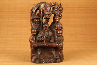 Antique old boxwood hand carving dragon god of wealthy favorite statue netsuke