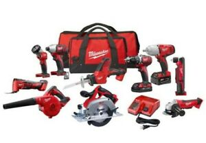 Milwaukee Combo Cordless Kit (10-Tool) with (2) Batteries, Charger and (2) m18