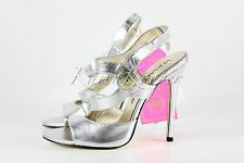 AUTHENTIC VERSACE for H&M High Heels SLINGBACKS Shoes US 9 leather Silver RARE