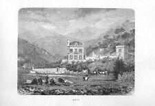 Stampa antica MENTONE veduta Menton Costa Azzurra Francia 1877 Old print