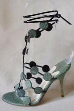 Alexandra Neel France Green Snakeskin Strappy Shoes Sz 36/US 6