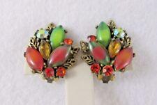 Vintage ART Arthur Pepper Earrings Fall Colors Art Glass Rhinestones Clip on