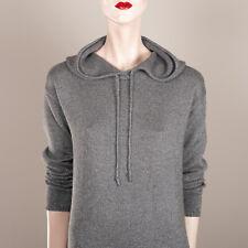 POLO RALPH LAUREN Damen Kleid XS 34 36 Grau Lurex Kapuze Luxus Knit Casual Style